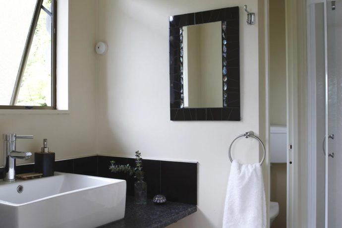 Barrier Island Lodge Accommodation: Lounge, Kitchenette And Bathroom